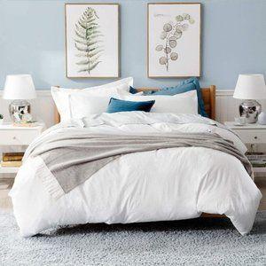 3 pc Queen Size White Bedding Duvet Cover Microfib